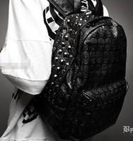Hot-selling 2012 personality skull rivet high quality PU backpack school bag backpack women's