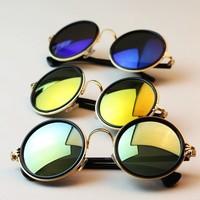Hot and New Fashion 2014 Vintage Retro Round Women Sunglasses Metal Frame Mirror Photochromic Lens Sunglasses Women Shades