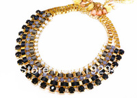2014 New Arrival Neon Color Resin Beads Gold Chain Necklace Ribbon Weave Bib Statement Multilayer Chunky Necklace Woman Necklace