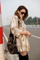 2014 new spring autumn hight quality 100% rela natural rabbit fur coat medium-long stand collar rabbit fur patchwork WTP2