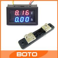 "5 PCS/LOT 2in1 DC Volt Amp Dual display Meter 0.28"" DC 0-100V/50A Red Blue Ammeter and Voltmeter With Ampere Shunts #200942"