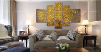 New paintings, Golden money tree home decor art oil painting 5p combination, free shipping
