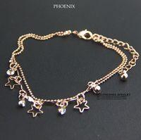 HEB052 Wholesale 14K Rose Gold Plated Women tops Zirconia Star Bracelets pulseiras femininas Pulseras Mujer