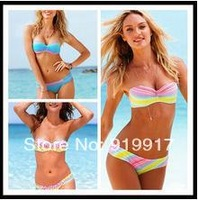 Cheap 2014 New Sexy Lady Undertint Bikini Sweet Rainbow Printing Swimsuit Nylon Beachwear S/M/L