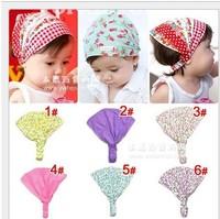 Retail Cute Baby Floral Printing Cotton Headband Children Girl Flower Bandanas Headscarf Band 1-3 Year Kids Girls