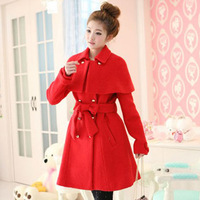 2014 Korean version of the new women's winter cape coat cape-style double-breasted waist Slim-type red wool coat