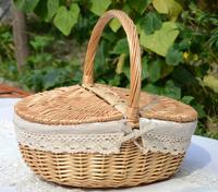 Rustic rattan willow outdoor snacks fruit basket picnic basket snacks