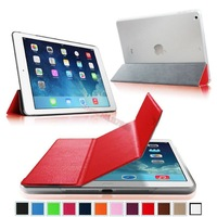 For Apple iPad Air 5 Ultra Slim Lightweight Leather Frost Transparent Hard case Back Shell (Smart Cover Wake / Sleep) - Red