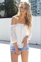 2013 European and American lace hollow yarn blouse blusa shorts women blouses three Quarter Chiffon dress CS3101