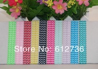 30pcs/lot NEW ARRIVAL 10 Colors Wave Print Fold Over Elastic FOE Hair Ties Bracelet Wristbands for girl Ponytail Holder R1048