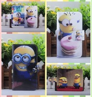 lovely Funny cartoon Minions Hot Despicable me leather PU flip case cover for Sony Xperia Z2 L50W D6503