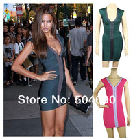 Green Hot Pink Front Zipper Bodycon HL Celebrity Bandage Dress Knitted Sexy Evening Party Dresses