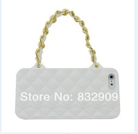 Brand CC logo silicon handbag channel Case For Iphone5 5G 4 4S With Chain Handbag Purse Soft Case for phone 4s 5 FreeShipping