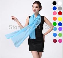 agradable pañuelo de gasa mujer de alta calidad gradual de gasa color sólido georgette de seda bufandas mantón diseño largo az710 hembra(China (Mainland))