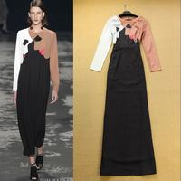 Latest Designs 2014 Women's Fashion Vintage Print Color Block Slim Long Dress Elegant Formal Evening Dresses F15885