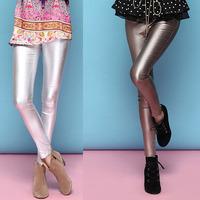 Hot Sale European Fashion Women's 2014 Faux Leather Metallic Color Elastic Slim Trousers Skinny Pants Leggings SS4027 Wholesale