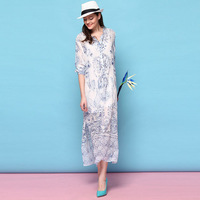 New In European Fashion Women's Popular Blue Porcelain Print Soft Silk Midi Dress Casual Loose Shirt Dresses SS4025 Wholesale