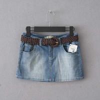 Women's slim casual pocket denim short skirt bust skirt belt plus size available