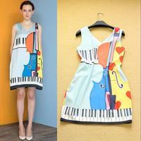 Hot Selling 2014 Elegant Classical Runway Style Women's Fashion Vintage Violin Print v-neck Dress Free Shipping F15883
