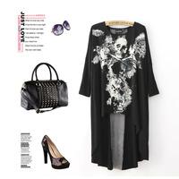 EUR Stars Gaga 2014 women's spring vampish skull dovetail rock t-shirt