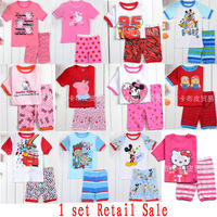 1 pc Retail Sale 2014 Summer Kids Wear Hello Kitty PJS Girls Peppa pig Pajamas Boys minion Pyjamas Baby Minnie Mouse Sleepwears