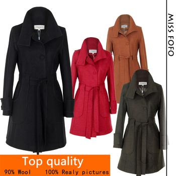 Верх Quality!! Женщины's Шерсть Coat Шерстьen Outerwear Длинный Winter Jackets ...