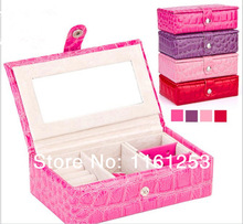 Portable jewelry box  leather jewelry box princess dressing birthday gift bags jewelry container  casket