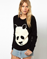 New Fashion Style Cartoon Panda Black And White Pattern Round Collar Pullover Long Sleeve Relaxation Sweater MY31 Free Shipping