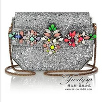 Shourouk Argento Crystal Decoration Glitter Pvc Messenger Bag Women's Fashion Handbags