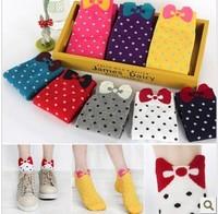 Min. order is $15 (mix order) cute cotton  bow polka dot socks  slippers 25g