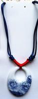 Rope with Hollow flower Bone china Necklaces,Stoneware Porcelain Craft Chinese style Neckwear Ceramic