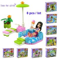 Hot Toy Bela Building Blocks 8 pcs/lot Friends Assembling Blocks Educational Bricks Toys for Girls Model Building Gift