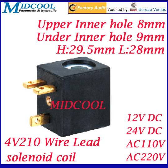 4V210 series magnetic Terminal wiring brass plug 3 solenoid valve coil 12v 24v 110v 220v(China (Mainland))
