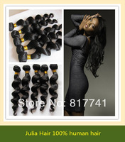 Free shipping Loose Wave 5A Unprocessed Julia queen hair 4pcs Lot  Malaysia Virgin Hair Extensions Natural Color