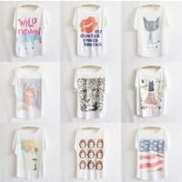 Various models Batwing sleeve plus size women cotton t-shirt good printed tees thin loose t shirts women free shipping T012