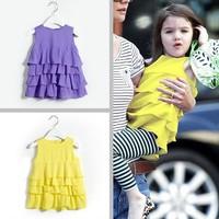 Surrey summer female child chiffon one-piece dress child tank dress princess layered dress