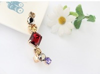 Track ship+hot selling beautiful fashion color gem ear clip earrings