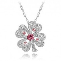 18K white gold plated crystal fashion heart clover necklace wedding jewelry for women 5R514