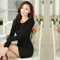 2014 Spring summer plus size black rose woman one-piece dress long-sleeve slim women's casual dress