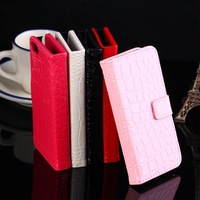 High quality Crocodile Grain Flip pu leather case with card holder FOR Sony Xperia E C1505,C1504