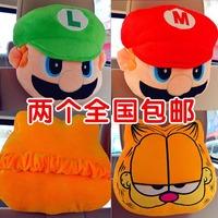 Car neck pillow headrest cartoon lovers pillow auto supplies 2 pieces