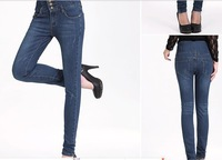 100% fabrics of super cotton pants elastic slim high waist abdomen drawing pencil jeans size:25,26,27,28,29,30,31 three styles