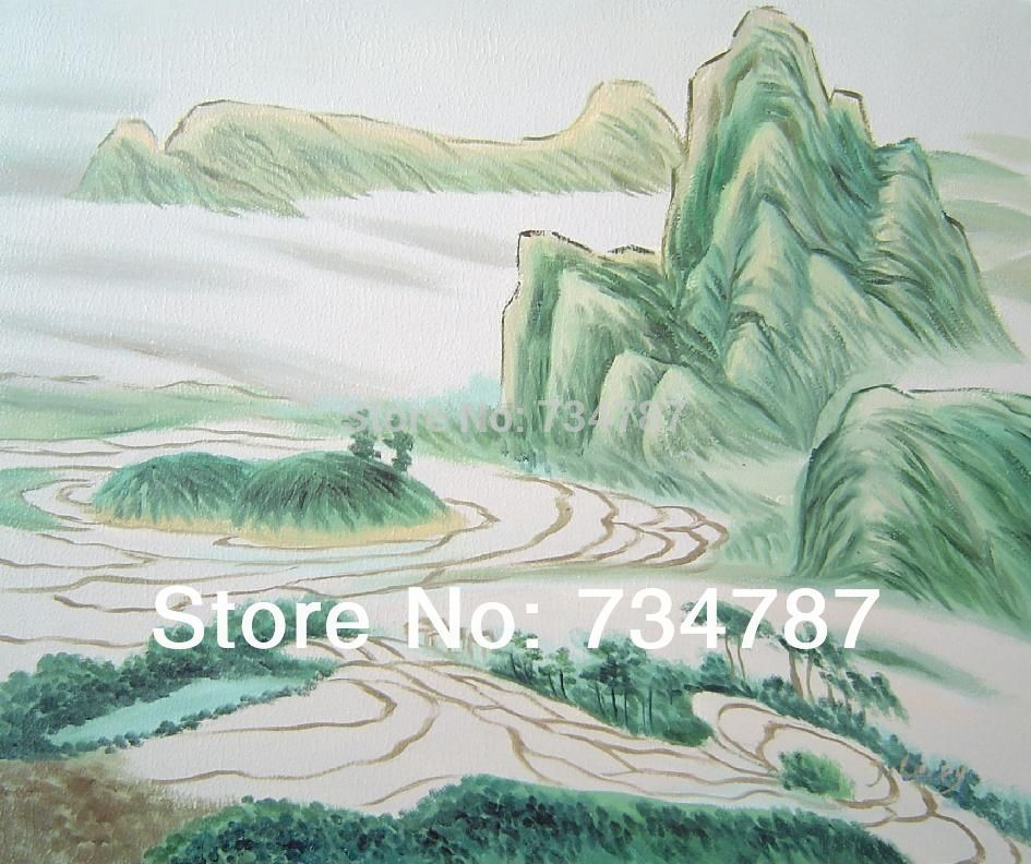 Fine Abstract Oil Painting on Canvas Home Decoration Wall Art Nature Hand Painted Landscape Oriental Mountain and Farm Fields(China (Mainland))