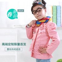 Hot sale 2014 new arrival girl children spring flower lace princess outerwear kids fashion casual pink jacket 4-6Year old C929