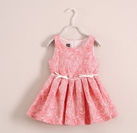 2014 Fashion Designer Girl Princess Lace Sleeveless One Piece Dress with Flowers Brand Kids Dress with bows