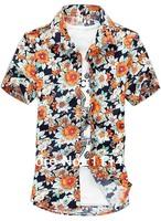 New Arrive 2014 Large Size Floral Printed Men Shirts Short Sleeve Rosette Camellia Turn-down Collar Men's Shirt Beach Wear 6XL