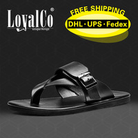 2014 New Arrivals Men's Sandals Beach shoes Flip Flops Black Buckle Strap100%  Genuine Leather Summer shoes LoyalCo Mark
