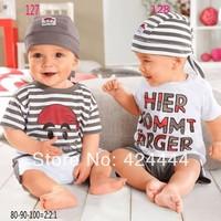 wholesales 1sets/lot baby boyssuit hat t shirt pants kids summer clothing sets free shipping
