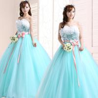2014 wedding formal dress puff skirt long design multicolour evening dress the bride evening dress costume dress