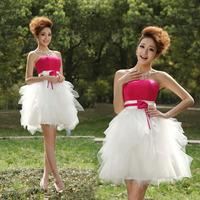 Short design evening dress small evening dress princess bridesmaid dress female costume puff skirt